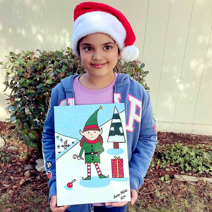 Cute elf christmas painting by a girl at Nimmy;s Art online art classes for kids, Katy, Texas.