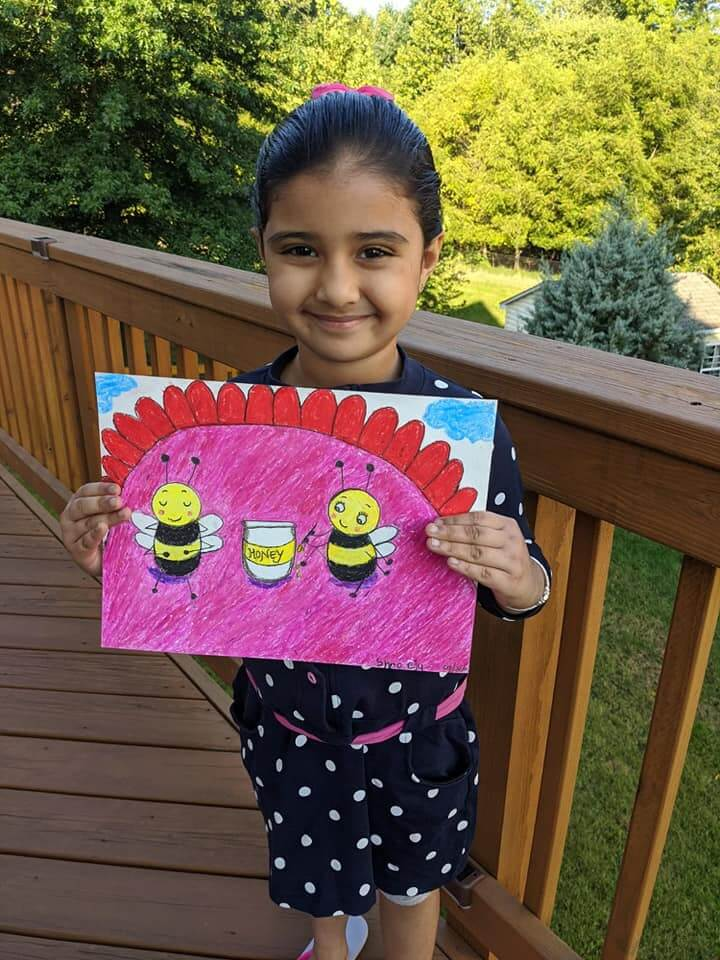 Happy Bees painting by Shreeja using Oil pastels at online art classes by Nimmy's Art