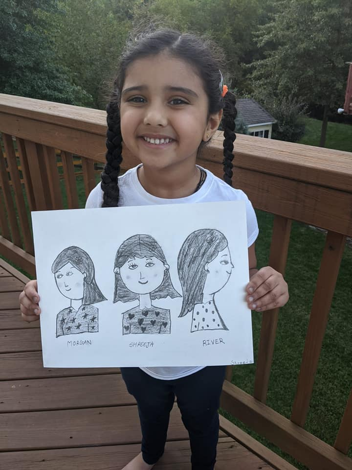Shreeja's with cute portraits of her friends sketched at nimmy's online art classes
