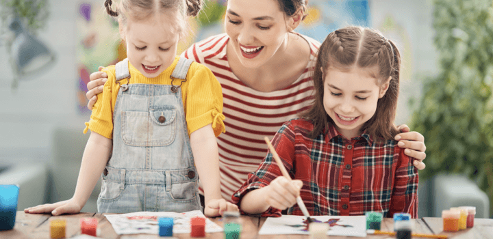 Mother is proud and supportive of her daughters's painting