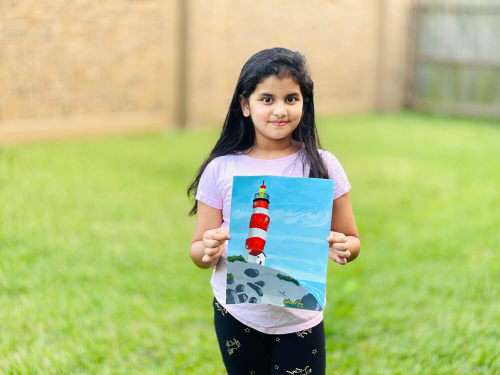 Acrylic painting masterclass -  'Lighthouse Hill' project at Nimmy's Art Academy [Young Artists Series]