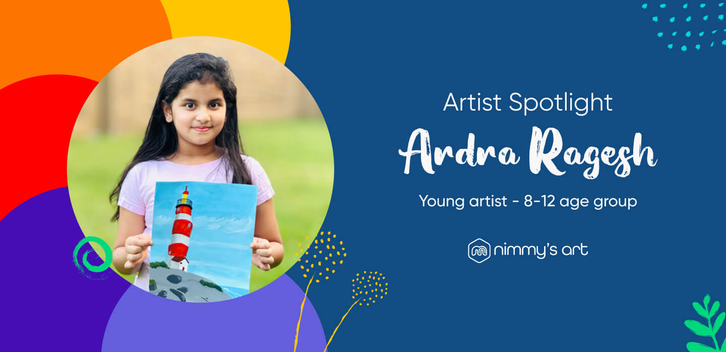 Ardra Ragesh featured as a young artist at Nimmy's Art class online art classes seen here with her light house work in acrylic
