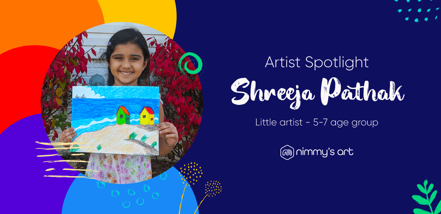Shreeja Pathak holding up a painting she made at nimmy's art classes