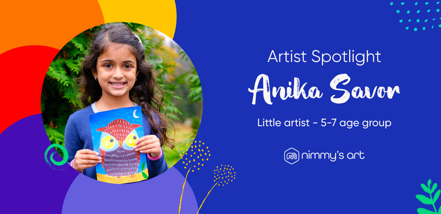 Anika with the Owl painting in the cover page
