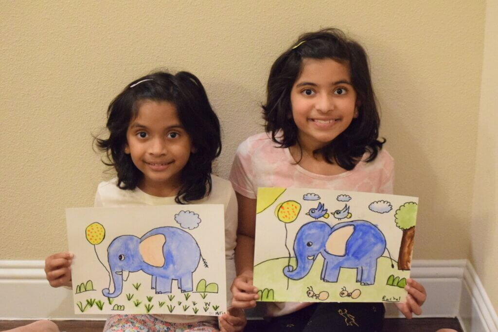 Jumbo - Watercolor painting by kids in online art classes by Nimmy's Art located in Katy, Texas