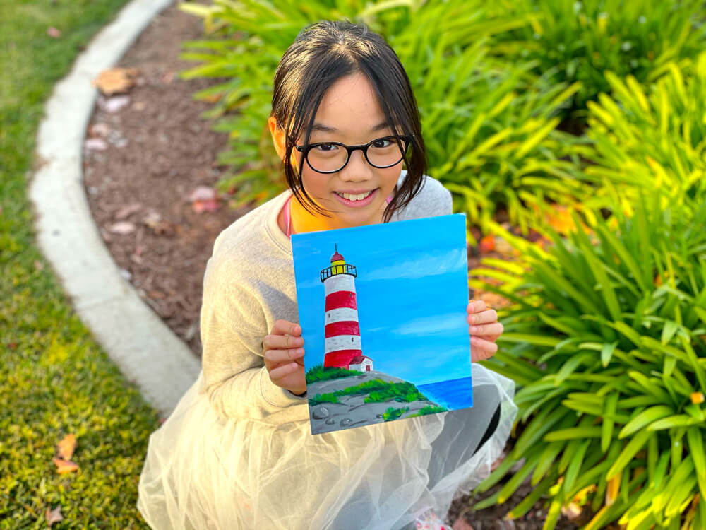 Acrylic painting of a lighthouse completed in one of Nimmy's Art Online classes at Katy, Texas