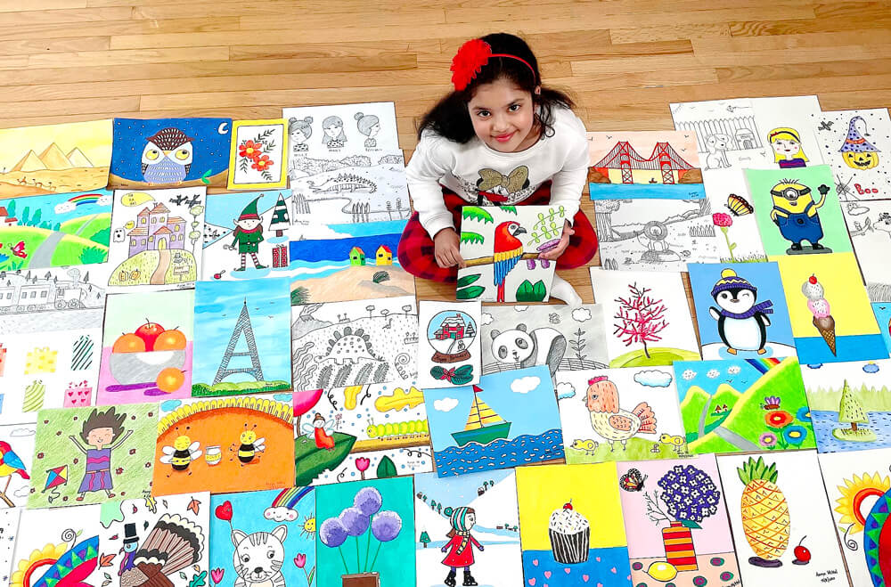 All artworks in multiple mediums by a student at Nimmy's Art online art classes for kids