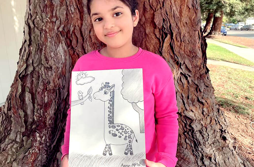 Cute giraffe in pencil drawing and shading medium by Aanya in online art classes by Nimmy's Art, Katy, Texas