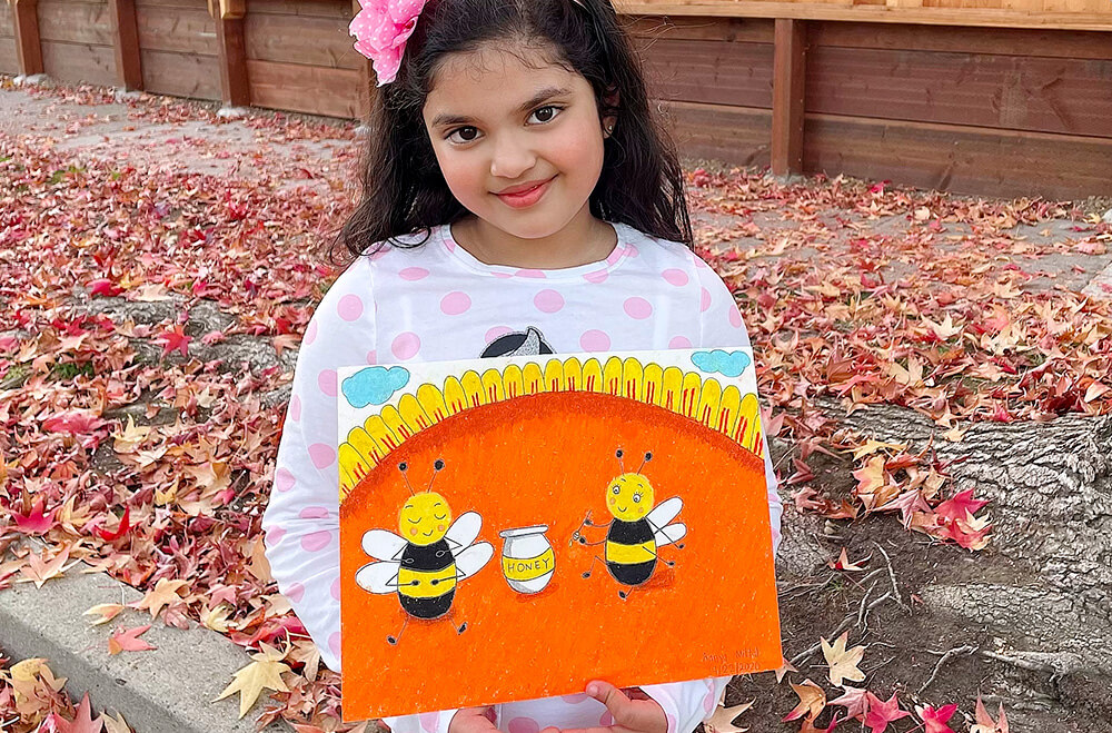 Happy bees in oil pastels medium by Aanya in online art classes by Nimmy's Art, Katy, Texas