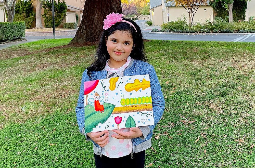 The caterpillar in oil pastels medium by Aanya in online art classes by Nimmy's Art, Katy, Texas