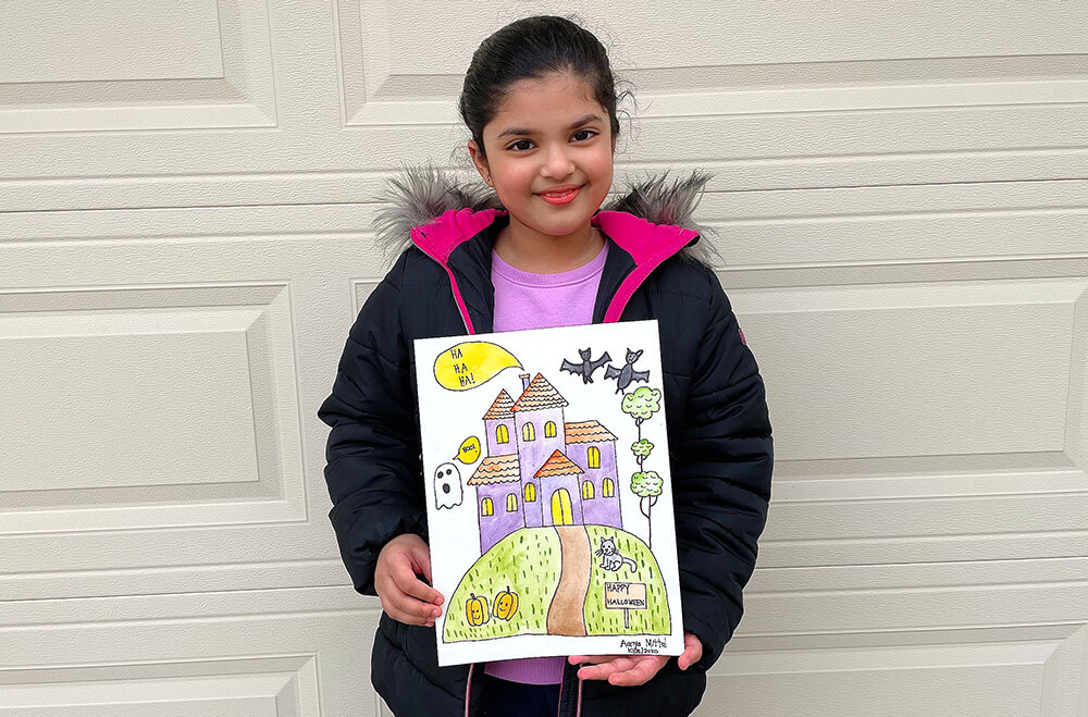 Halloween castle in watercolor medium by Aanya in online art classes by Nimmy's Art, Katy, Texas
