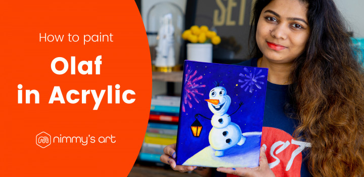 Nimmy holding the Olaf painting in acrylic done at our free art class in January 2021
