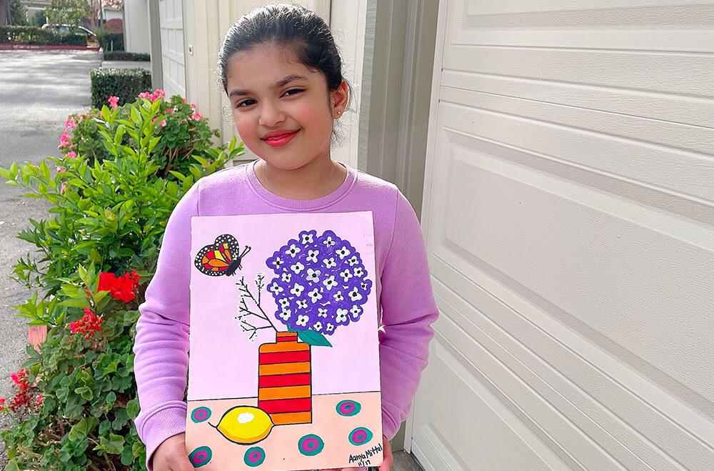Flowery and vase in acrylic painting medium by Aanya in online art classes by Nimmy's Art, Katy, Texas