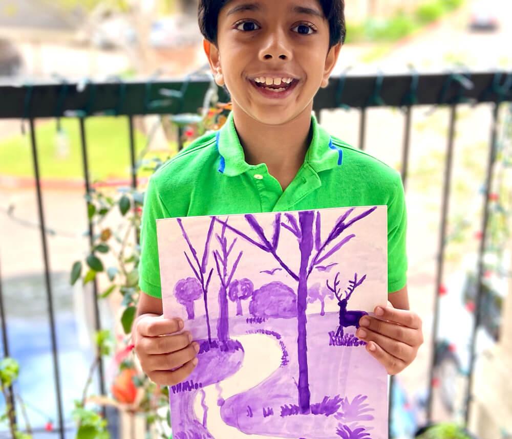 Monochrome painting in watercolor by Aditya Chanda in online art classes by Nimmy's Art, Katy, Texas