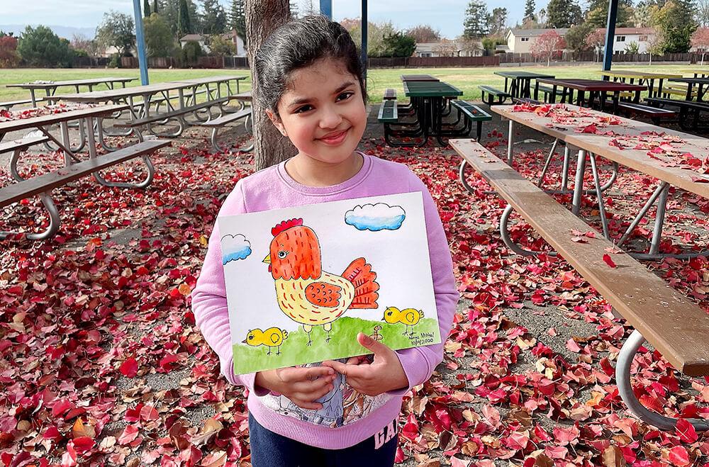 A pecky hen in watercolor medium by Aanya in online art classes by Nimmy's Art, Katy, Texas
