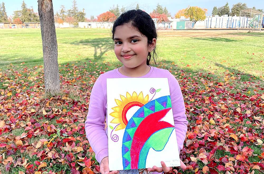 Oil pastel medium artwork by Aanya in online art classes by Nimmy's Art, Katy, Texas