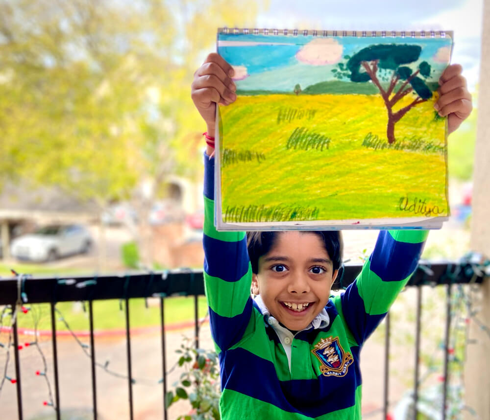 Beautiful landscape by Aditya Chanda in online art classes by Nimmy's Art, Katy, Texas