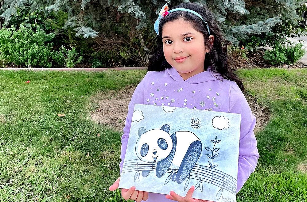 Cute panda in pendil drawing and shading medium by Aanya in online art classes by Nimmy's Art, Katy, Texas
