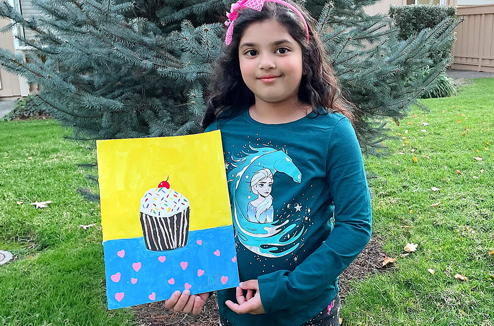 Cuppy cake in acrylic painting artwork by Aanya in online art classes by Nimmy's Art, Katy, Texas