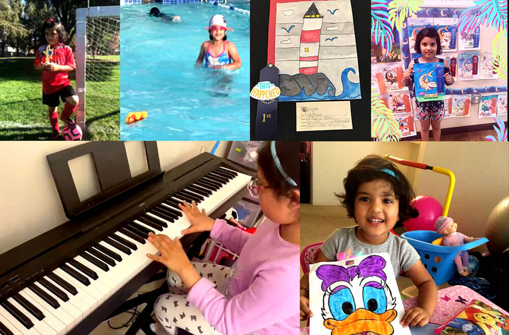 Aanya on her piano, swimming in the pool, and with her early years artworks.