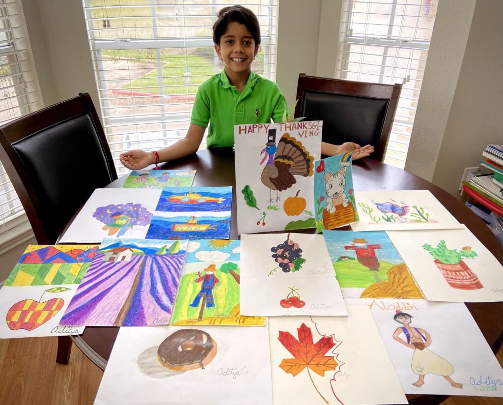 Artworks in multiple mediums by Aditya Chanda in online art classes by Nimmy's Art, Katy, Texas