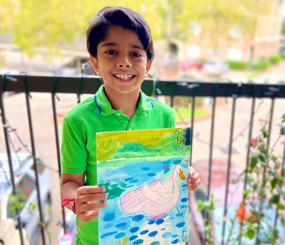 Swan Paradise - Watercolor by Aditya Chanda in NImmy's Art Online Art Classes in Katy, Texas