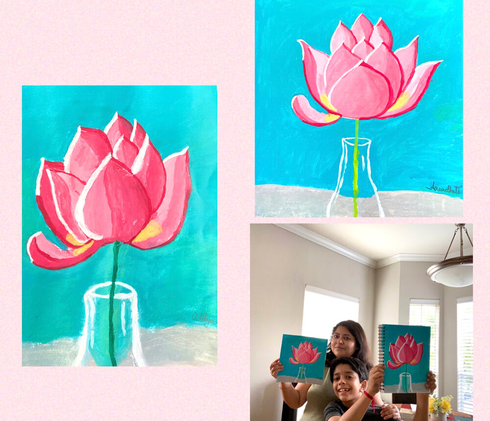 Family Art - artwork by mom & son using acrylic paint in NImmy's Art FREE Online Art Class in Katy, Texas