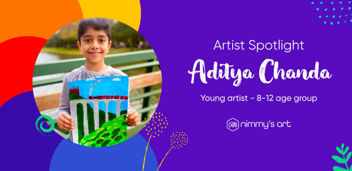 Aditya Chanda in Artists Spotlight for Young Artists age group 8-12 years at Nimmy's Art classes
