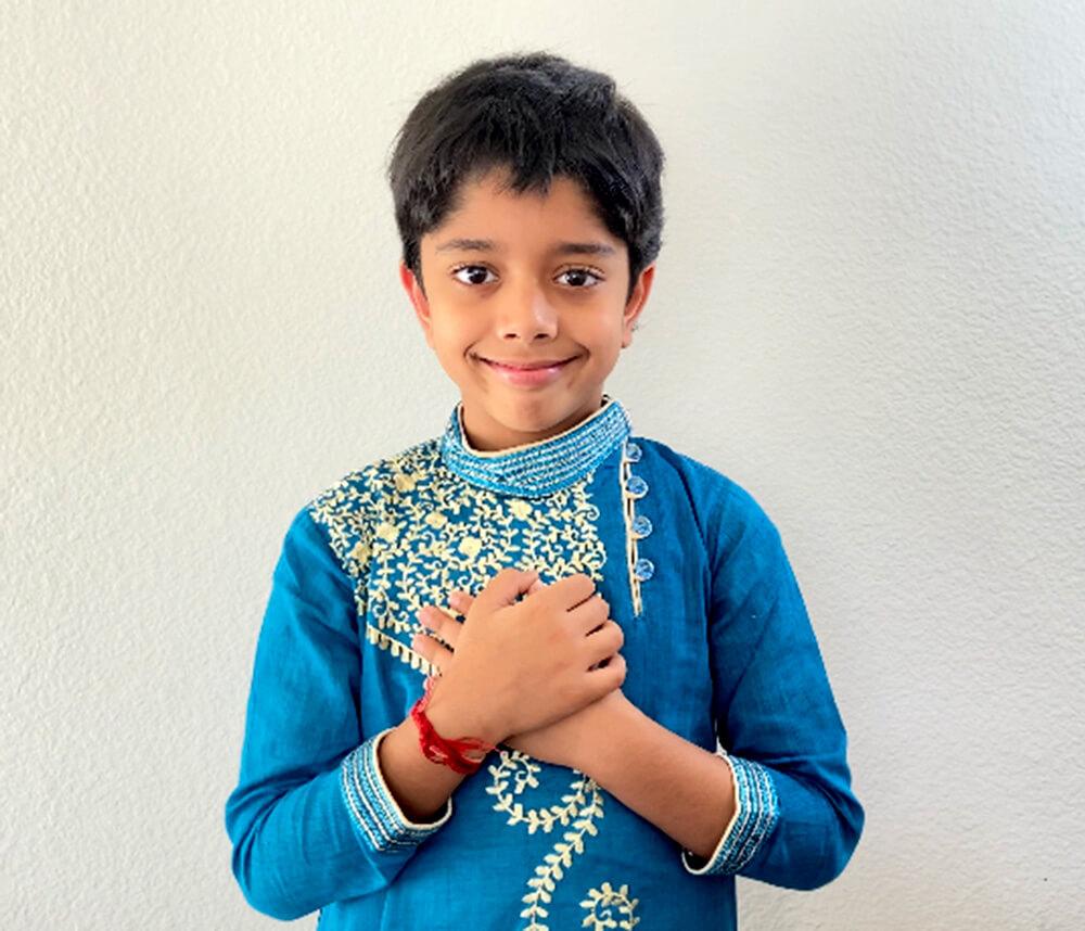 Aditya Chanda in traditional Bengali attire