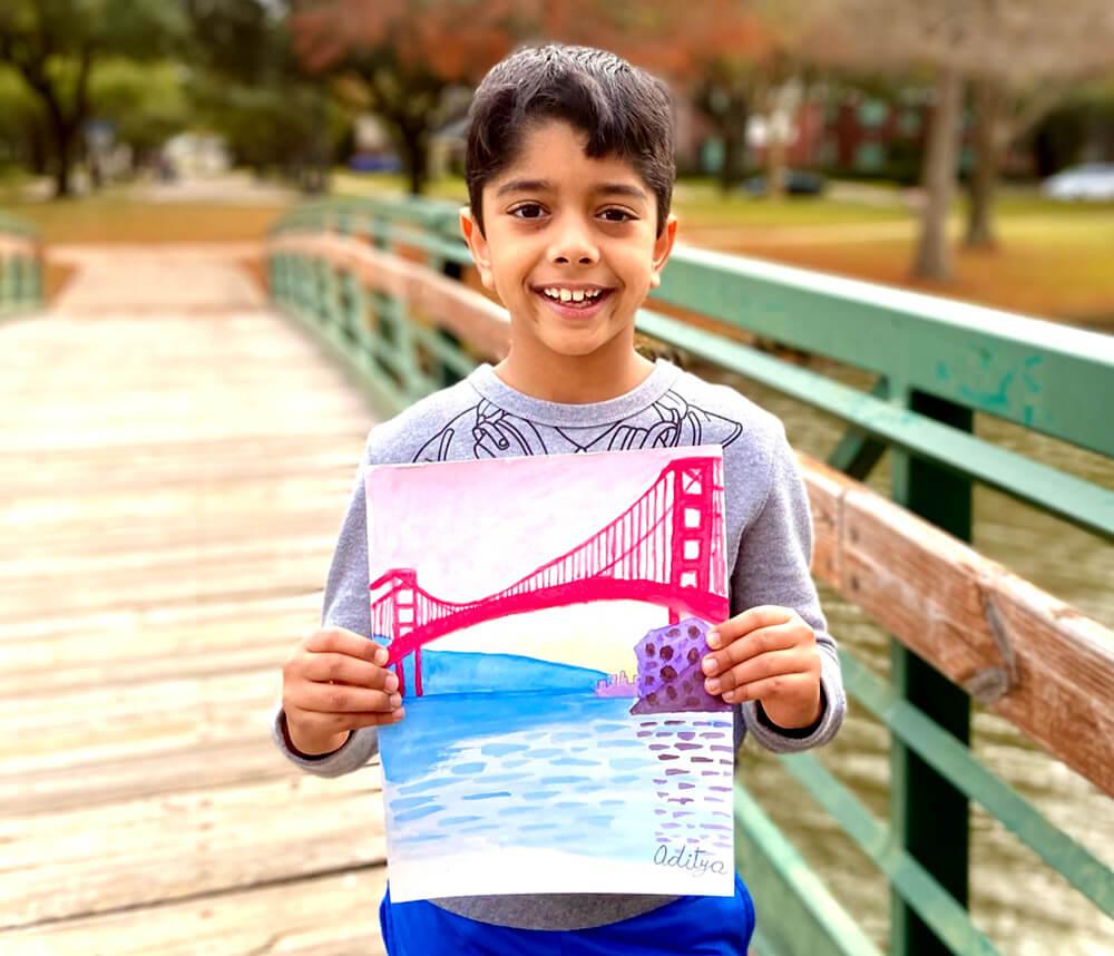 The Golden Gate bridge in watercolors by Aditya Chanda in NImmy's Art Online Art Classes in Katy, TexasThe Magic Lamp - Pencil Drawing by Aditya Chanda in NImmy's Art Online Art Classes in Katy, TexasThe Magic Lamp - Pencil Drawing by Aditya Chanda in NImmy's Art Online Art Classes in Katy, Texas