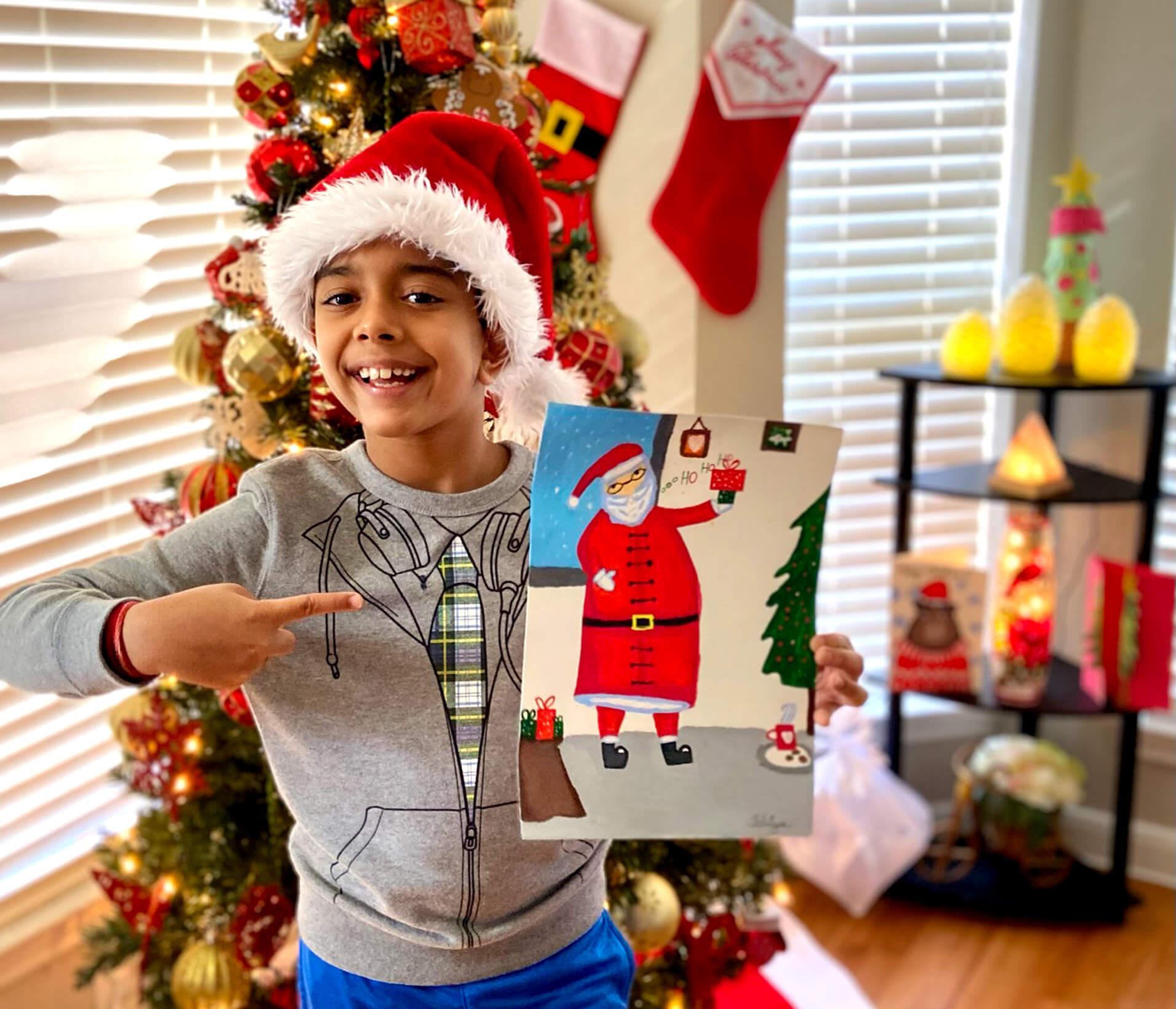 Santa Claus on canvas - acrylic painting by Aditya Chanda in Nimmy's Art Online Art Christmas Art Camp in Katy, Texas