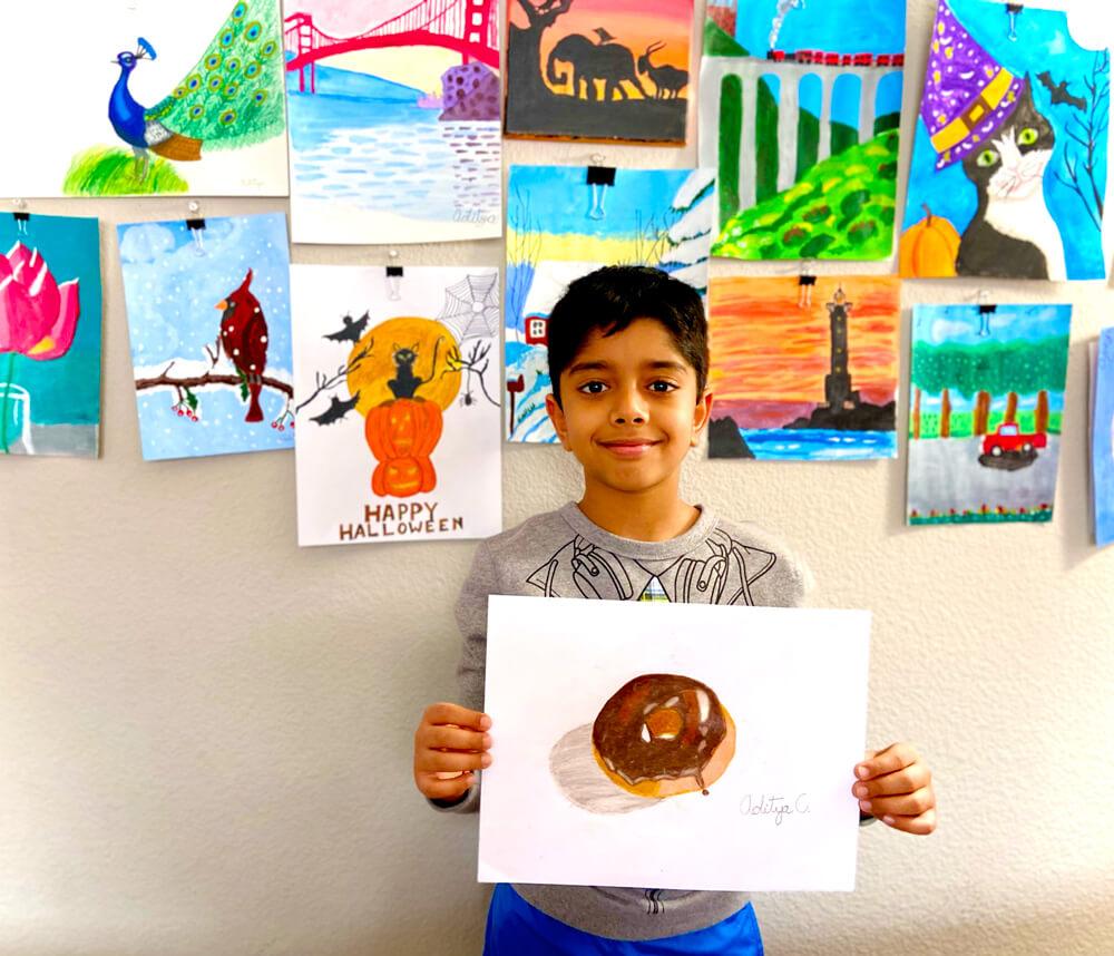 Yummy Donut in Prisma colors by Aditya Chanda in NImmy's Art Online Art Classes in Katy, TexasThe Magic Lamp - Pencil Drawing by Aditya Chanda in NImmy's Art Online Art Classes in Katy, TexasThe Magic Lamp - Pencil Drawing by Aditya Chanda in NImmy's Art Online Art Classes in Katy, Texas