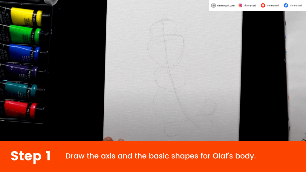 Draw the axis and basic body shapes for Olaf
