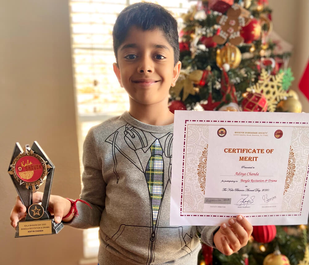 Aditya won the trophy for Bengali Recitation