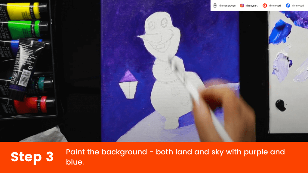 Paint the background - both land and sky with the base layers.
