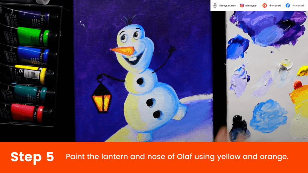 Paint the lantern, Olaf's nose and the yellow light falling on Olaf's body and land.