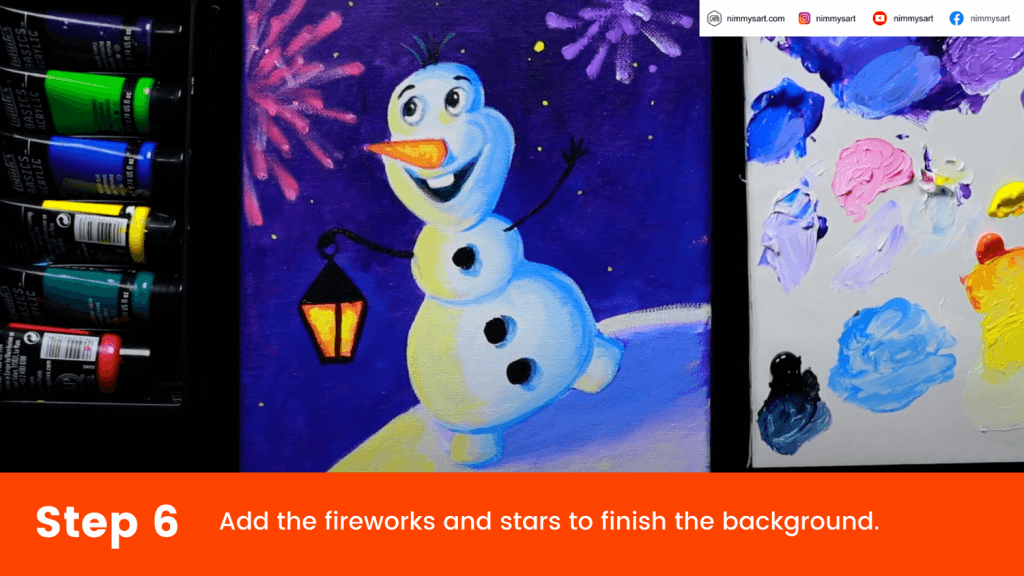 Add the fireworks using small dots of paint and brush them to the center using your finger. Add small dots for stars.