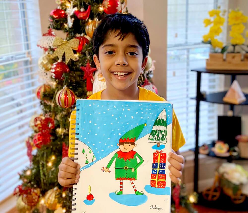 Elf in acrylic painting by Aditya Chanda in Nimmy's Art FREE Holiday Art Workshop in Katy, Texas