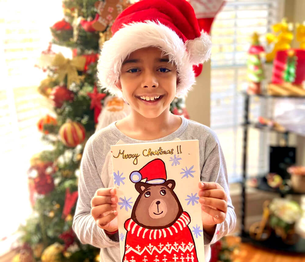 Christmas Card using acrylic painting by Aditya Chanda in Nimmy's Art Online Art Christmas Art Camp in Katy, Texas