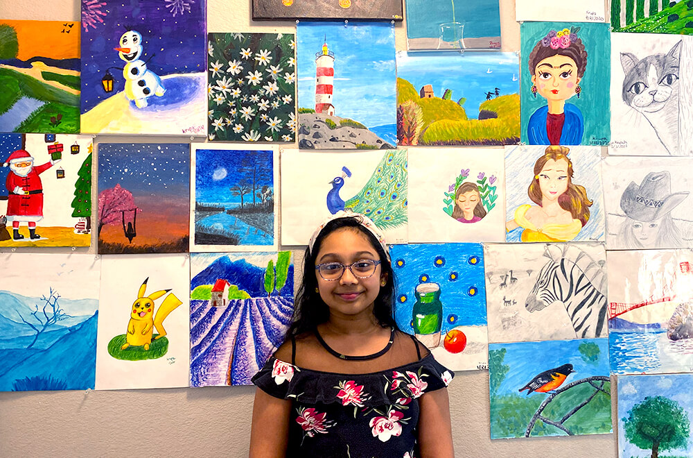 Artworks by Krupa in multiple mediums completed at Nimmy's Art online art classes in Katy, Texas.