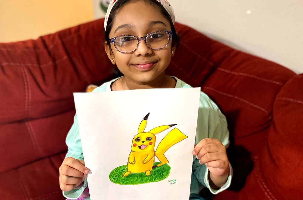 Pikachu in Prisma colors for kids completed at Nimmy's Art online art classes in Katy, Texas.