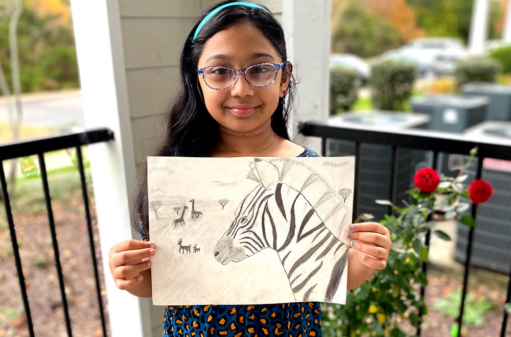 Wild Africa in pencil drawing and sketching for kids completed at Nimmy's Art online art classes in Katy, Texas.