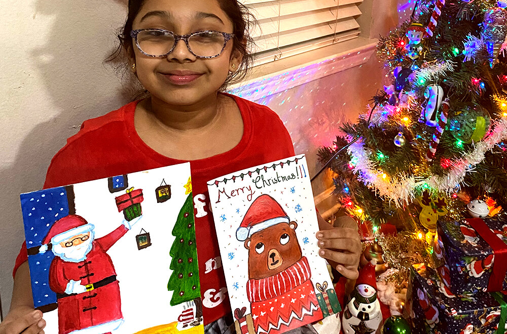 Christmas special cards in acrylic painting completed at Nimmy's Art online art camp in Katy, Texas.