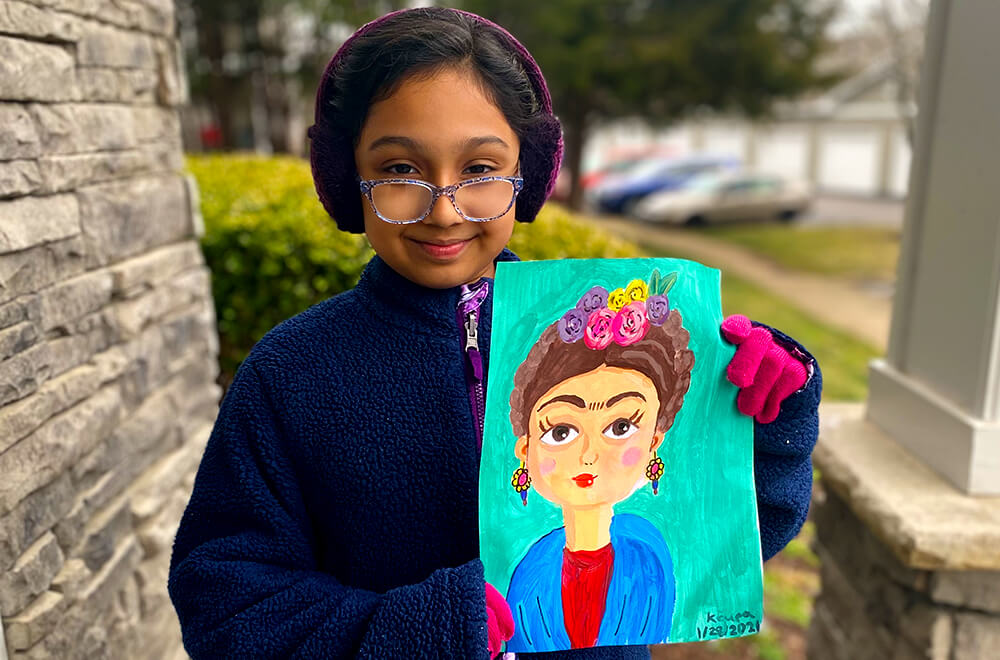 Frida Kahlo portrait painting in acrylic for kids completed at Nimmy's Art online art classes in Katy, Texas.