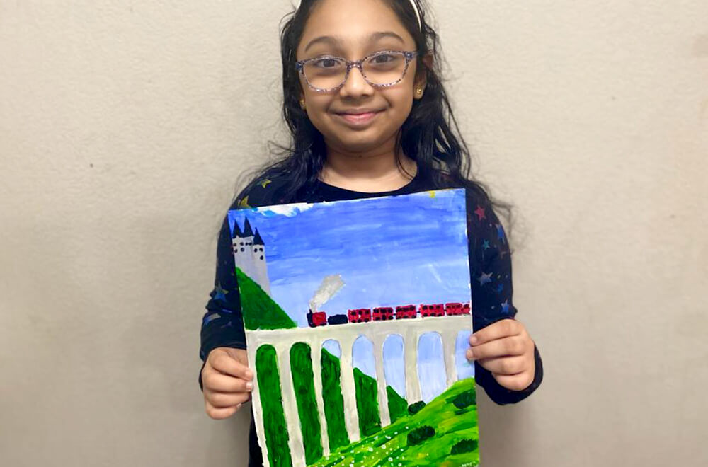 An acrylic painting adaptation of Hogwarts Express in acrylic for kids completed at Nimmy's Art online art classes in Katy, Texas.