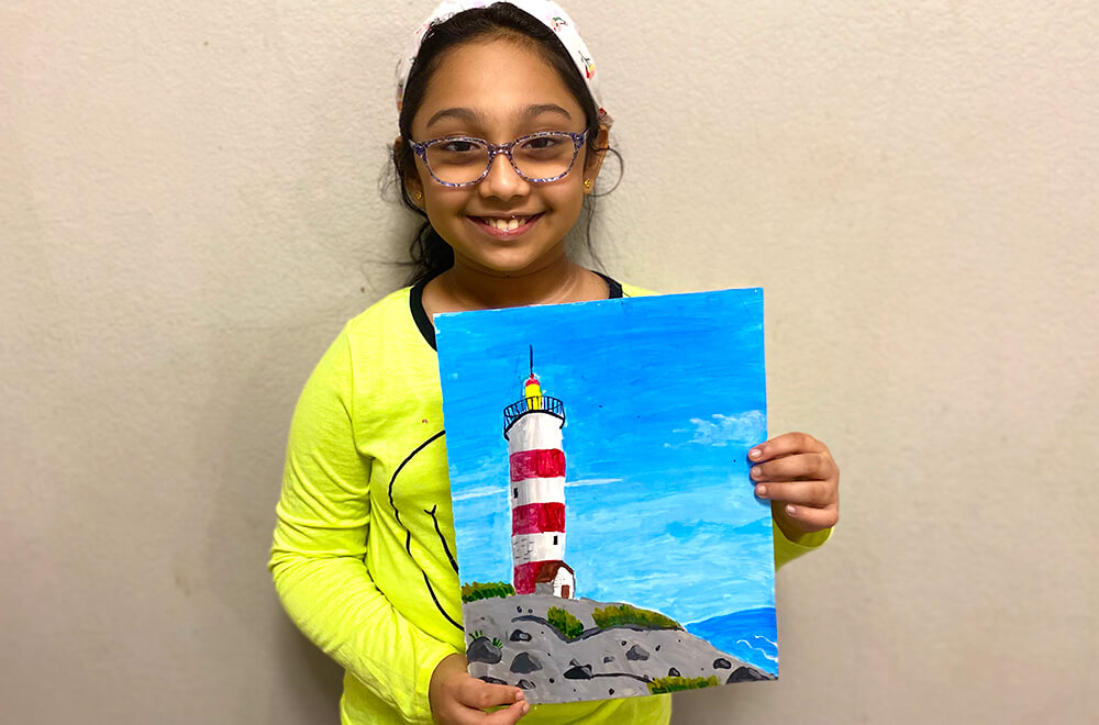 The lighthouse painting in acrylic for kids completed at Nimmy's Art online art classes in Katy, Texas.
