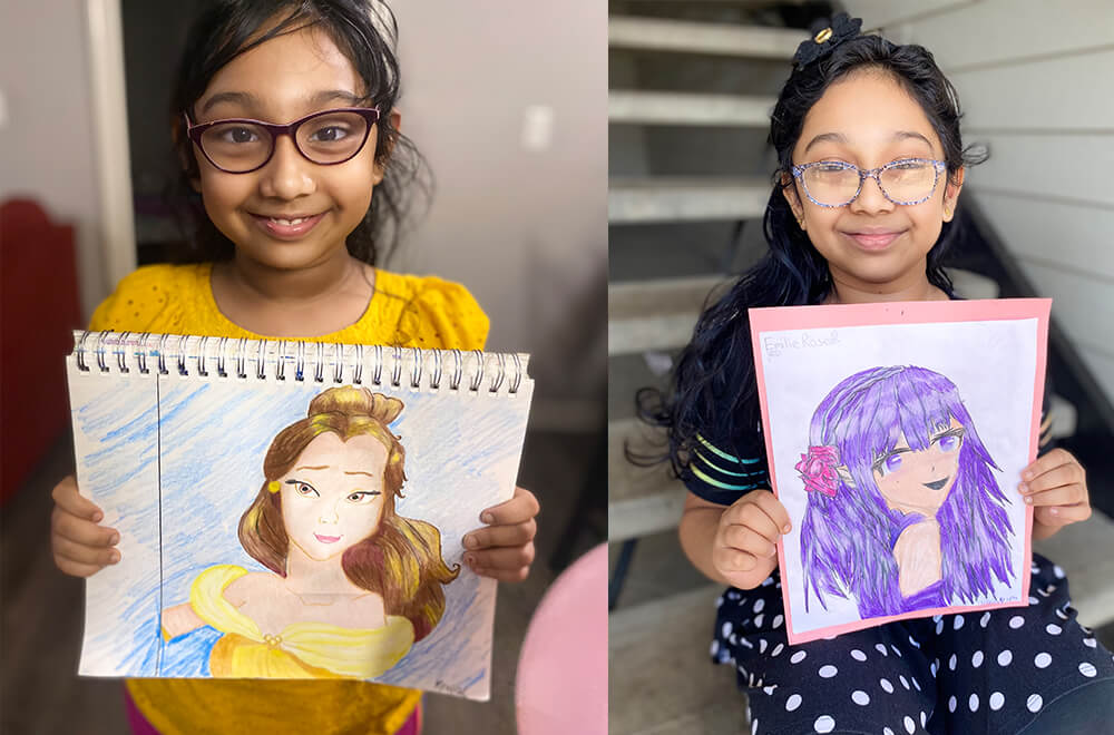 Portraits of her favorite princess created by Nimmy's Art student during her leisure time