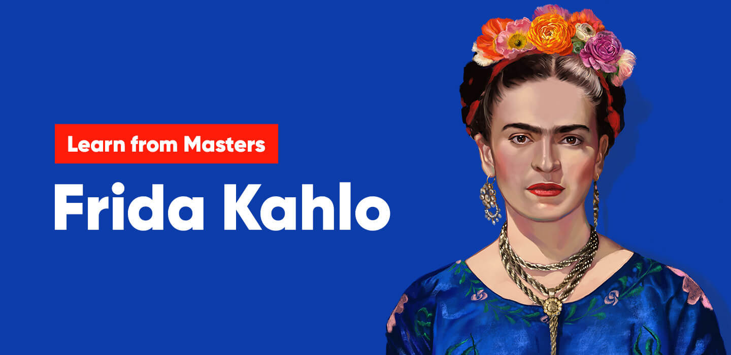 Frida Kahlo portrait in digital painting by Nimmy Melvin