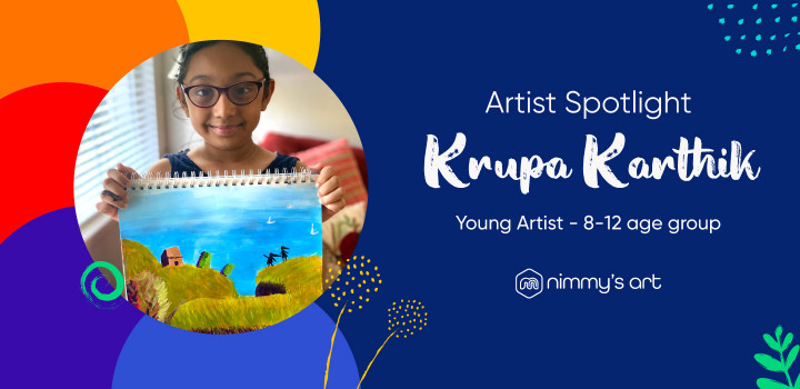 Krupa Karthik featured in artists spotlight by Nimmy's Art online art classes in Katy, Texas