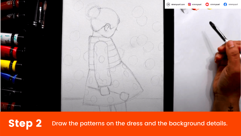 Step 2 - Sketch the flowers in the background for the Valentine's day painting of a girl in the garden